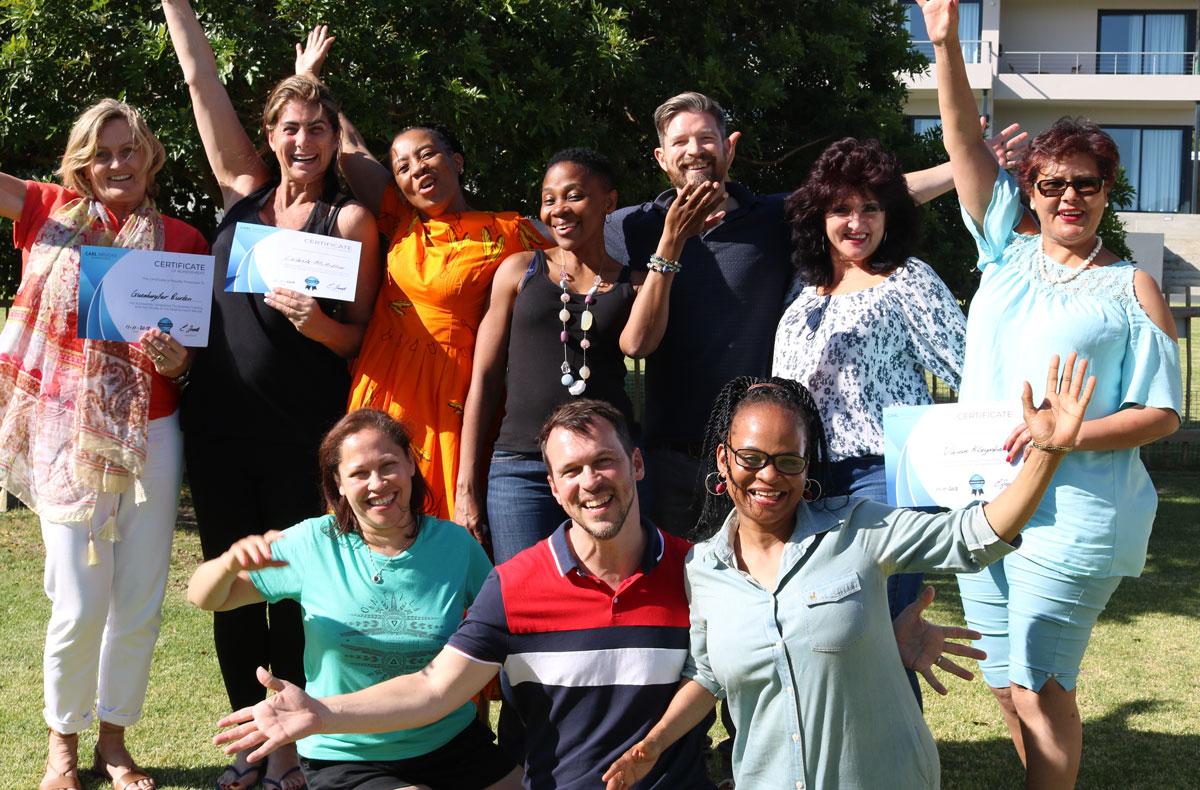 Group photo of Wealthy Coach Retreat number 10 South Africa Noorhoek, Cape Town with Carl Brooks & JJ van Zon