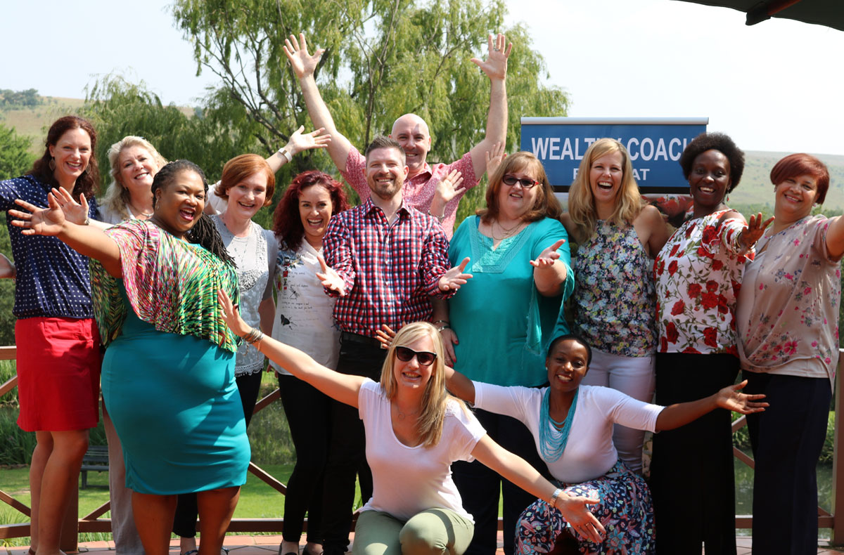 Group photo of participants Wealthy Coach Retreat number 4 in Glenburn lodge & spa, Johannesburg, South Africa, March 2016